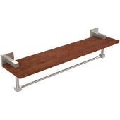 Montero Collection 22 Inch Solid IPE Ironwood Shelf with Integrated Towel Bar, Polished Nickel