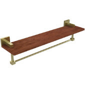 Montero Collection 22 Inch Solid IPE Ironwood Shelf with Integrated Towel Bar, Satin Brass