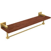 Montero Collection 22 Inch Solid IPE Ironwood Shelf with Integrated Towel Bar, Unlacquered Brass