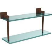Montero Collection 16 Inch Two Tiered Glass Shelf, Antique Bronze