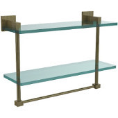Montero Collection 16 Inch Two Tiered Glass Shelf with Integrated Towel Bar, Antique Brass