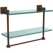 Montero Collection 16 Inch Two Tiered Glass Shelf with Integrated Towel Bar, Antique Bronze