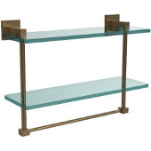 Montero Collection 16 Inch Two Tiered Glass Shelf with Integrated Towel Bar, Brushed Bronze