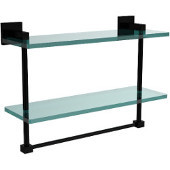 Montero Collection 16 Inch Two Tiered Glass Shelf with Integrated Towel Bar, Matte Black