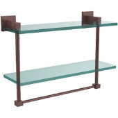 Montero Collection 16 Inch Two Tiered Glass Shelf with Integrated Towel Bar, Antique Copper
