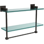 Montero Collection 16 Inch Two Tiered Glass Shelf with Integrated Towel Bar, Oil Rubbed Bronze