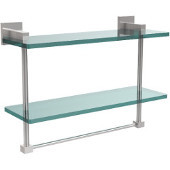 Montero Collection 16 Inch Two Tiered Glass Shelf with Integrated Towel Bar, Polished Chrome