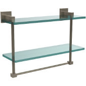 Montero Collection 16 Inch Two Tiered Glass Shelf with Integrated Towel Bar, Antique Pewter