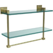 Montero Collection 16 Inch Two Tiered Glass Shelf with Integrated Towel Bar, Satin Brass