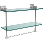 Montero Collection 16 Inch Two Tiered Glass Shelf with Integrated Towel Bar, Satin Chrome