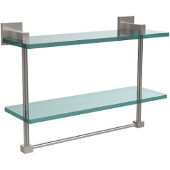 Montero Collection 16 Inch Two Tiered Glass Shelf with Integrated Towel Bar, Satin Nickel