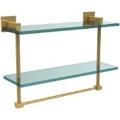 Montero Collection 16 Inch Two Tiered Glass Shelf with Integrated Towel Bar, Unlacquered Brass