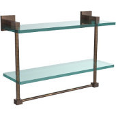 Montero Collection 16 Inch Two Tiered Glass Shelf with Integrated Towel Bar, Venetian Bronze