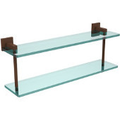 Montero Collection 22 Inch Two Tiered Glass Shelf, Antique Bronze