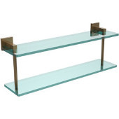 Montero Collection 22 Inch Two Tiered Glass Shelf, Brushed Bronze