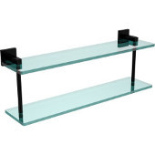 Montero Collection 22 Inch Two Tiered Glass Shelf, Oil Rubbed Bronze