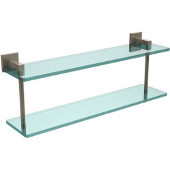 Montero Collection 22 Inch Two Tiered Glass Shelf, Antique Pewter