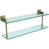 Montero Collection 22 Inch Two Tiered Glass Shelf, Satin Brass