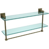 Montero Collection 22 Inch Two Tiered Glass Shelf with Integrated Towel Bar, Antique Brass