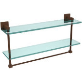 Montero Collection 22 Inch Two Tiered Glass Shelf with Integrated Towel Bar, Antique Bronze