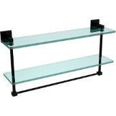 Montero Collection 22 Inch Two Tiered Glass Shelf with Integrated Towel Bar, Matte Black