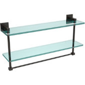 Montero Collection 22 Inch Two Tiered Glass Shelf with Integrated Towel Bar, Oil Rubbed Bronze