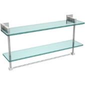 Montero Collection 22 Inch Two Tiered Glass Shelf with Integrated Towel Bar, Polished Chrome
