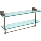 Montero Collection 22 Inch Two Tiered Glass Shelf with Integrated Towel Bar, Antique Pewter