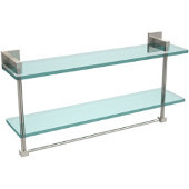 Montero Collection 22 Inch Two Tiered Glass Shelf with Integrated Towel Bar, Polished Nickel