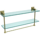 Montero Collection 22 Inch Two Tiered Glass Shelf with Integrated Towel Bar, Satin Brass