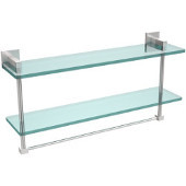Montero Collection 22 Inch Two Tiered Glass Shelf with Integrated Towel Bar, Satin Chrome