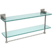 Montero Collection 22 Inch Two Tiered Glass Shelf with Integrated Towel Bar, Satin Nickel