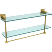 Montero Collection 22 Inch Two Tiered Glass Shelf with Integrated Towel Bar, Unlacquered Brass