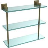 Montero Collection 16 Inch Triple Tiered Glass Shelf, Antique Brass