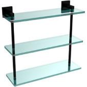 Montero Collection 16 Inch Triple Tiered Glass Shelf, Matte Black