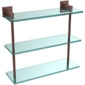 Montero Collection 16 Inch Triple Tiered Glass Shelf, Antique Copper