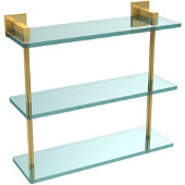 Montero Collection 16 Inch Triple Tiered Glass Shelf, Unlacquered Brass