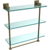Montero Collection 16 Inch Triple Tiered Glass Shelf with integrated towel bar, Antique Brass