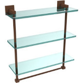 Montero Collection 16 Inch Triple Tiered Glass Shelf with integrated towel bar, Antique Bronze