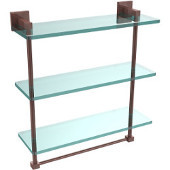 Montero Collection 16 Inch Triple Tiered Glass Shelf with integrated towel bar, Antique Copper