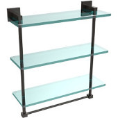 Montero Collection 16 Inch Triple Tiered Glass Shelf with integrated towel bar, Oil Rubbed Bronze