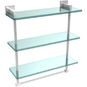 Montero Collection 16 Inch Triple Tiered Glass Shelf with integrated towel bar, Polished Chrome