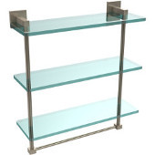 Montero Collection 16 Inch Triple Tiered Glass Shelf with integrated towel bar, Antique Pewter