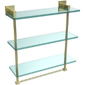 Montero Collection 16 Inch Triple Tiered Glass Shelf with integrated towel bar, Satin Brass
