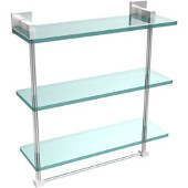 Montero Collection 16 Inch Triple Tiered Glass Shelf with integrated towel bar, Satin Chrome
