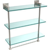 Montero Collection 16 Inch Triple Tiered Glass Shelf with integrated towel bar, Satin Nickel
