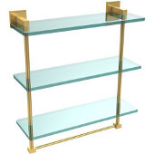 Montero Collection 16 Inch Triple Tiered Glass Shelf with integrated towel bar, Unlacquered Brass