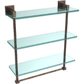 Montero Collection 16 Inch Triple Tiered Glass Shelf with integrated towel bar, Venetian Bronze