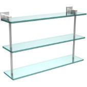 Montero Collection 22 Inch Triple Tiered Glass Shelf, Satin Chrome
