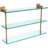 Montero Collection 22 Inch Triple Tiered Glass Shelf, Unlacquered Brass